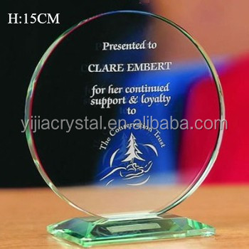 Cheap Engraved Jade Glass Award for Appreciation Gifts