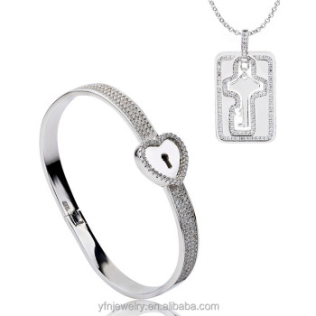 key pendant heart and t sterling ip silver lock w chain carat with diamond