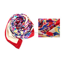 Islamic Scarf Hot Fix Rhinestone Colorful Flower Pattern Print Neck Scarf