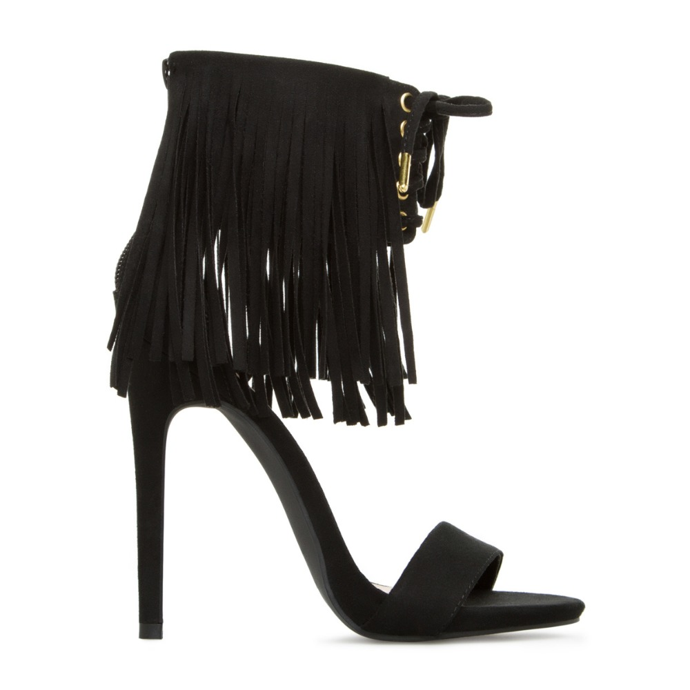 JILL Wholesale order Fashion Ankle strap with tassel high <strong>heel</strong> open toe sandal for women