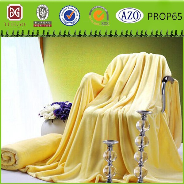 Thick soft 100% polyester yellow solid flannel fleece koyo blanket