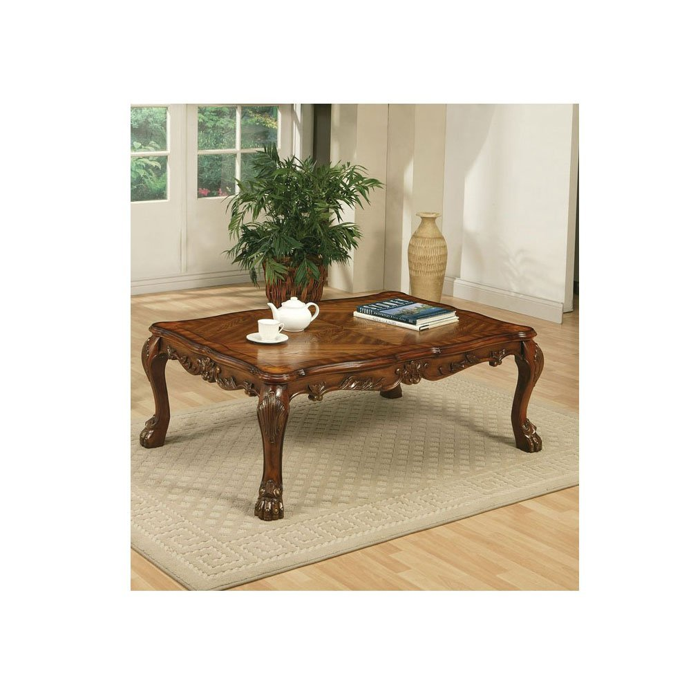 get quotations 1perfectchoice traditional carved wood occasional coffee table in cherry finish new - Carved Wooden Coffee Tables