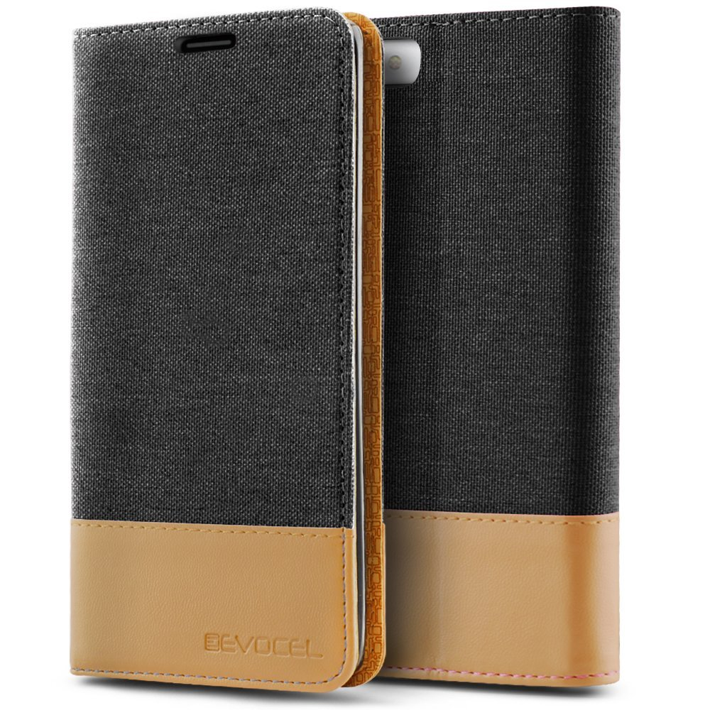 iPhone 7 Case, Evocel [The Folio Series] 2-Tone Stylish Folio Case [Flip][Easy-Open] Seamless Magnetic Closure [Textured][Kickstand] Prop-Up Feature For iPhone 7 (4.7 inch), Black