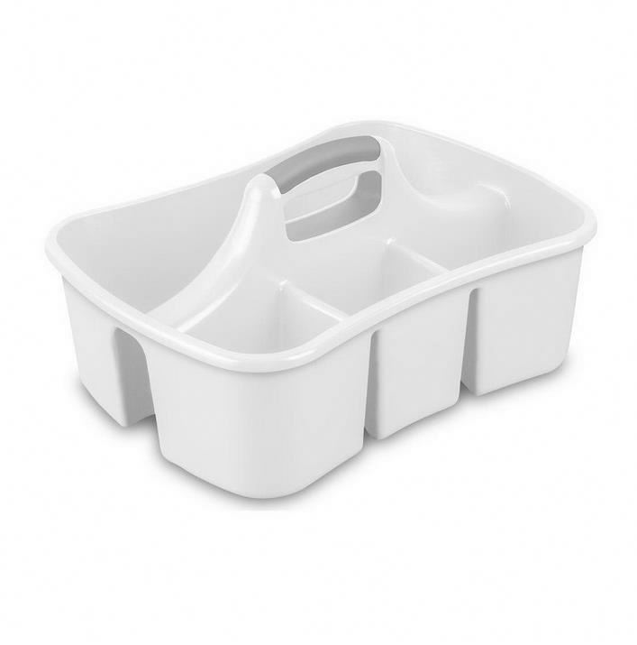 Home Utility Large White Divided Ultra Bathroom Cleaning Caddy