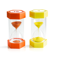 Plastic 3 min yellow and 10 min orange sand timer for desktop