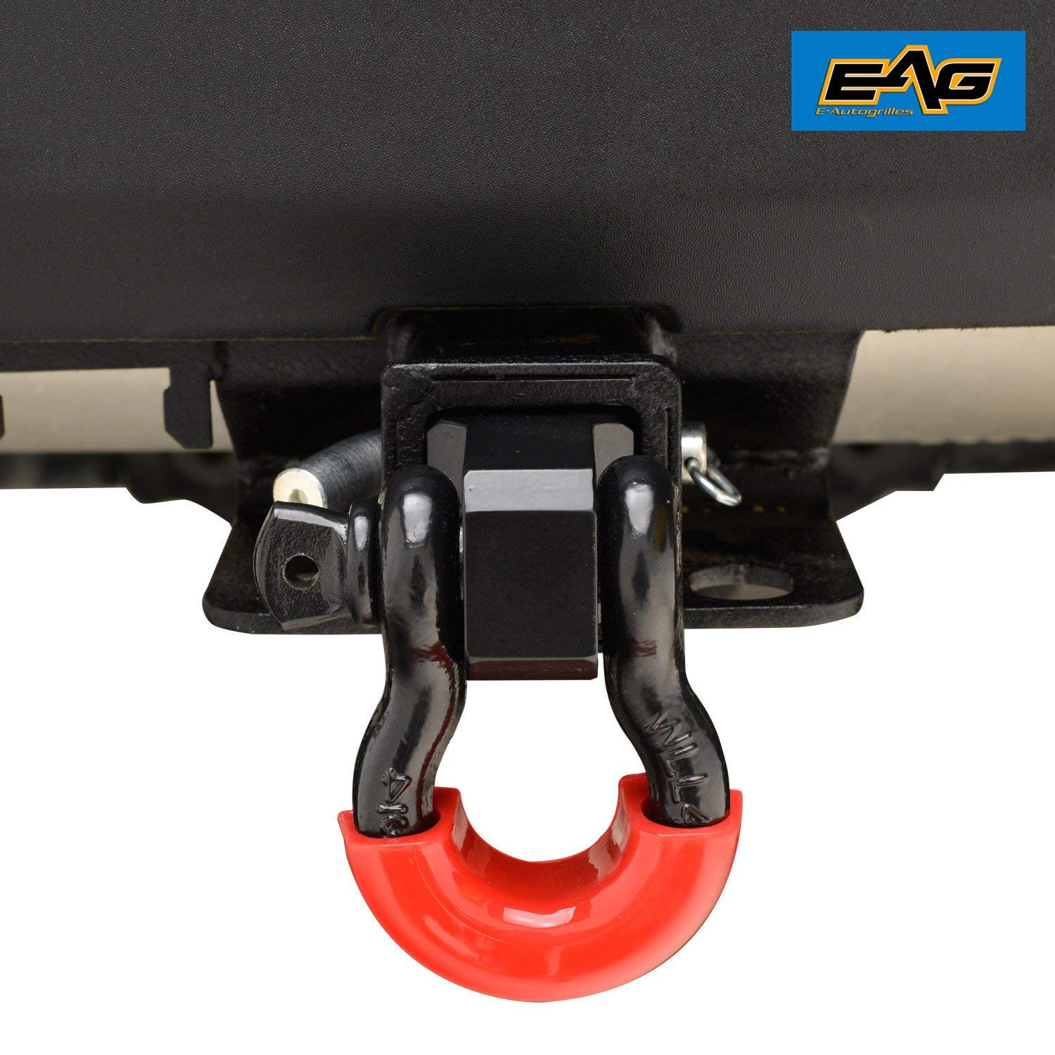 EAG 2 inch Hitch Reciever with Red 3//4 inch D-Ring Shackle Yellow Isolator and Hitch Pin