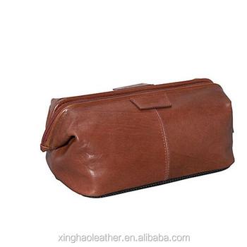Framed Promotional Designer Cosmetic Bag Tan Wash Travel Kits