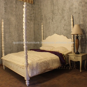 Antique Four Poster Wooden Bed Mahogany White Painted