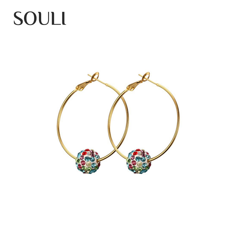 High Polished Gold Plated Drop Earrings Crystal Stainless Steel Shambala Hoop Earrings