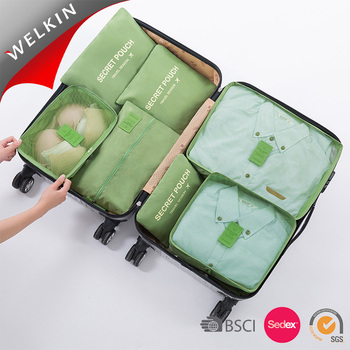 7 Piece Set Traveling Luggage Packing Cubes Pouch Clothes Organizer Storage Bag