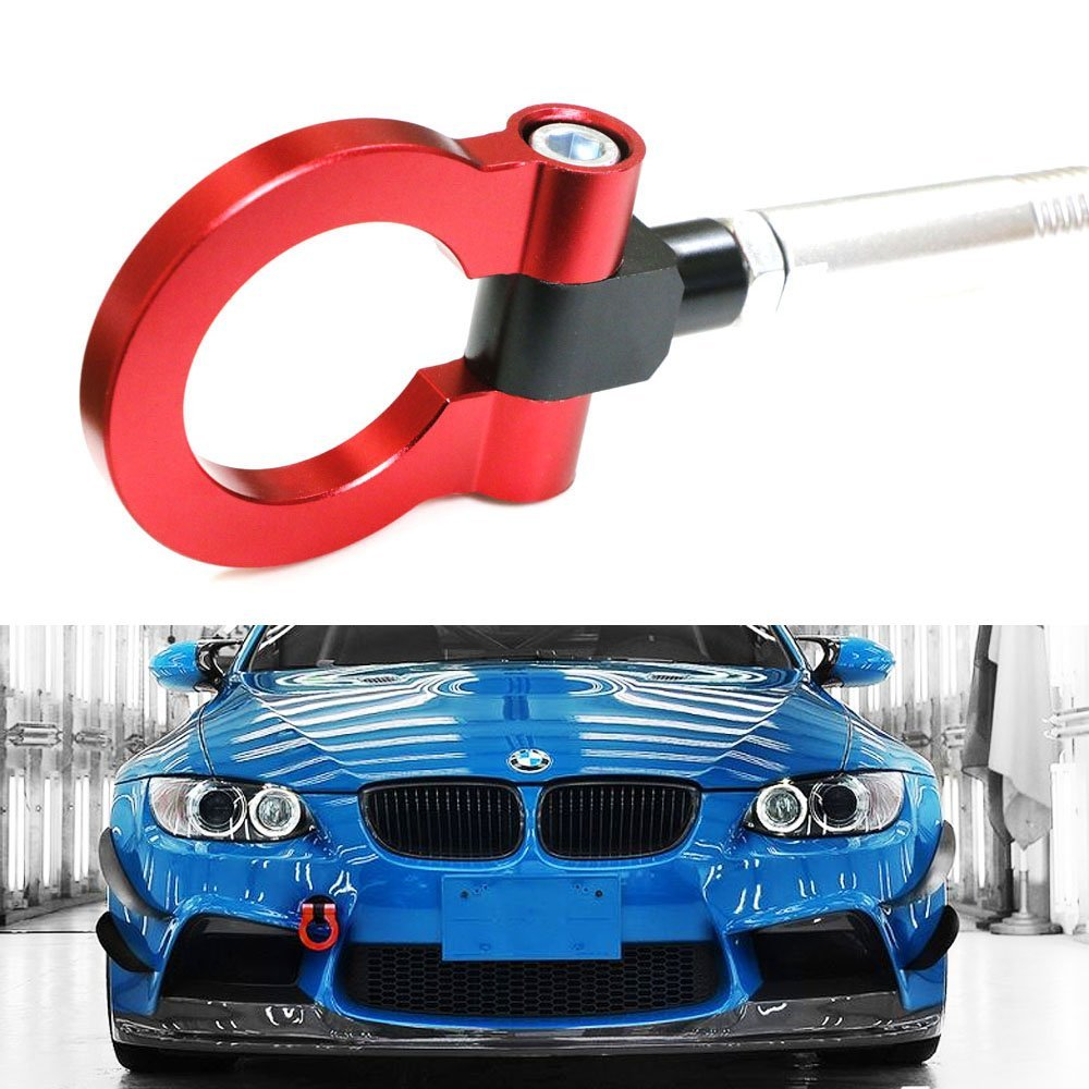iJDMTOY (1) Anodized Red Track Racing Style Aluminum Tow Hook For BMW 1 3 5 Series X5 X6 & MINI Cooper (E36 E39 E46 E82 E90 E91 E92 E93 E70 E71 R50 R51 R52 R53 R55 R56 R57 R58 R59)