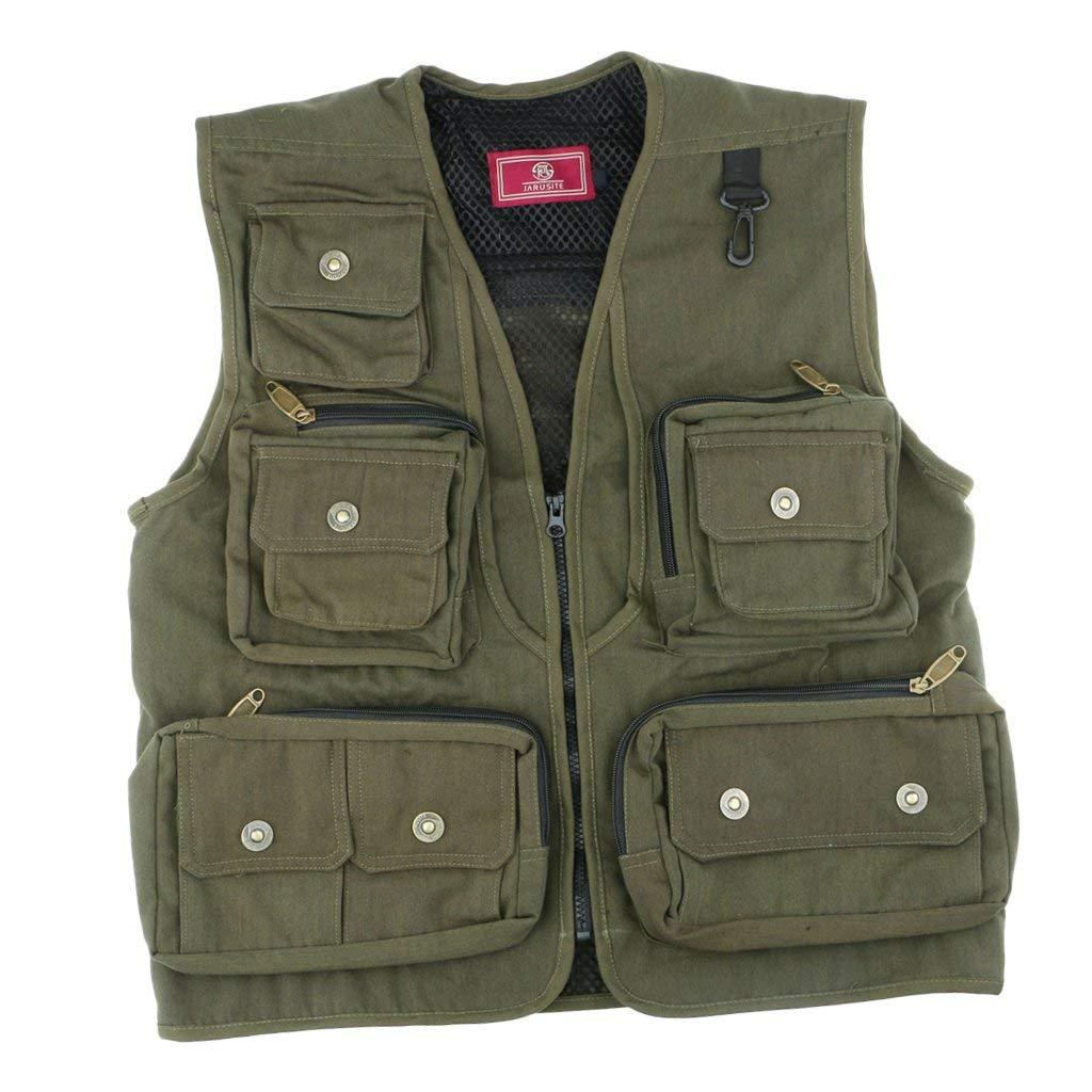 Baoblaze Men's Outdoor Multifunction Multi-pocket Fishing Photo Journalist's Vest Jacket, Adjustable Waist, Breathable, Wind Proof, Winter Warm