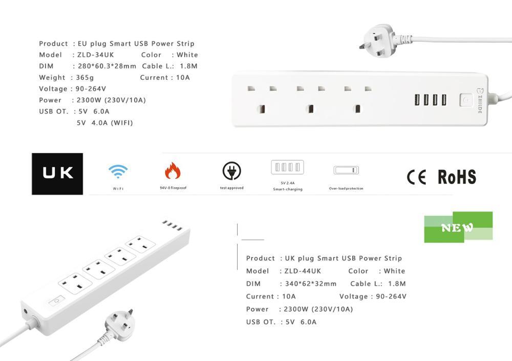 zhilde factory uk 4 outlet smart power strip surge protector 4 usb rh alibaba com