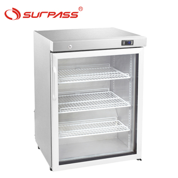 Stainless steel one door wine bottle cooler with glass door