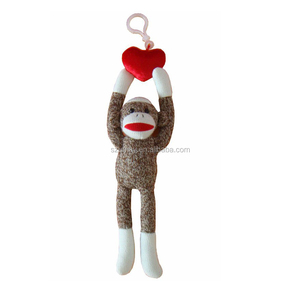 2018 Baby Knit Sock Monkey Plush Toys With Red Heart Soft Stuffed Animal