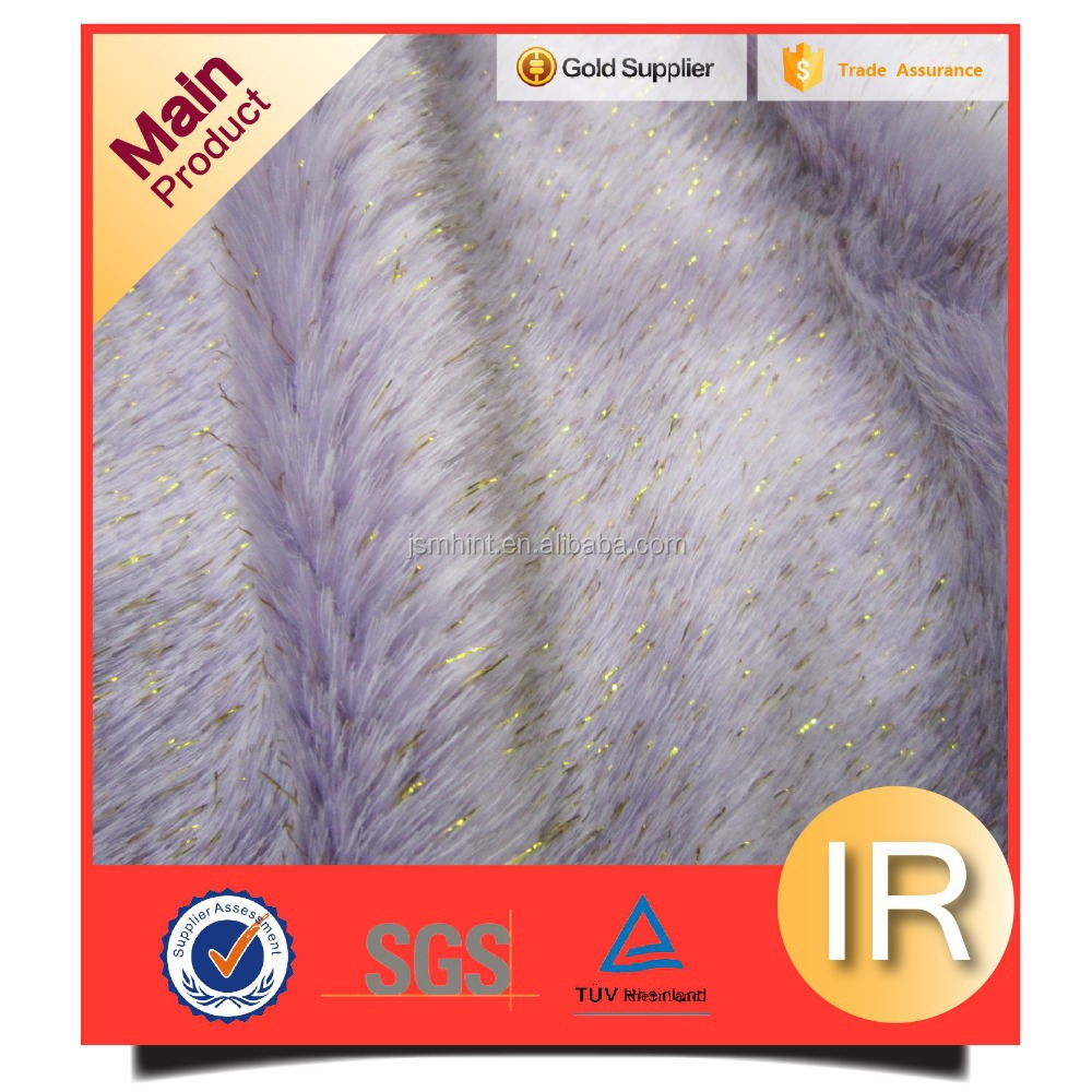 fashion gold thread with purple fake fur fabric micro fleece fabric