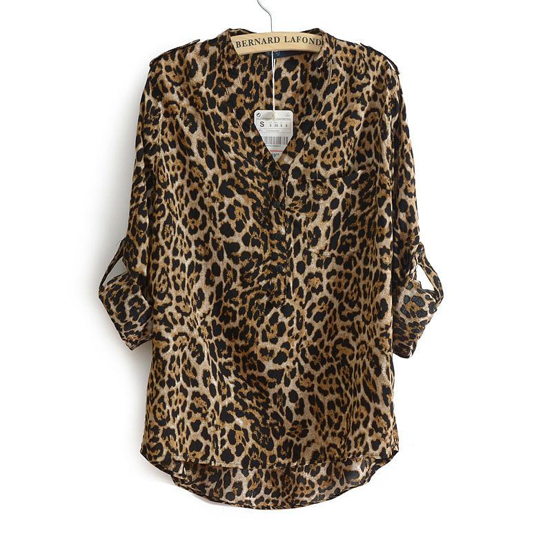 e0153e51d0fa70 Get Quotations · New Casual Cotton Long Sleeve Leopard Print Blouse V-Neck  Chiffon Shirt Blusas Feminino Ladies