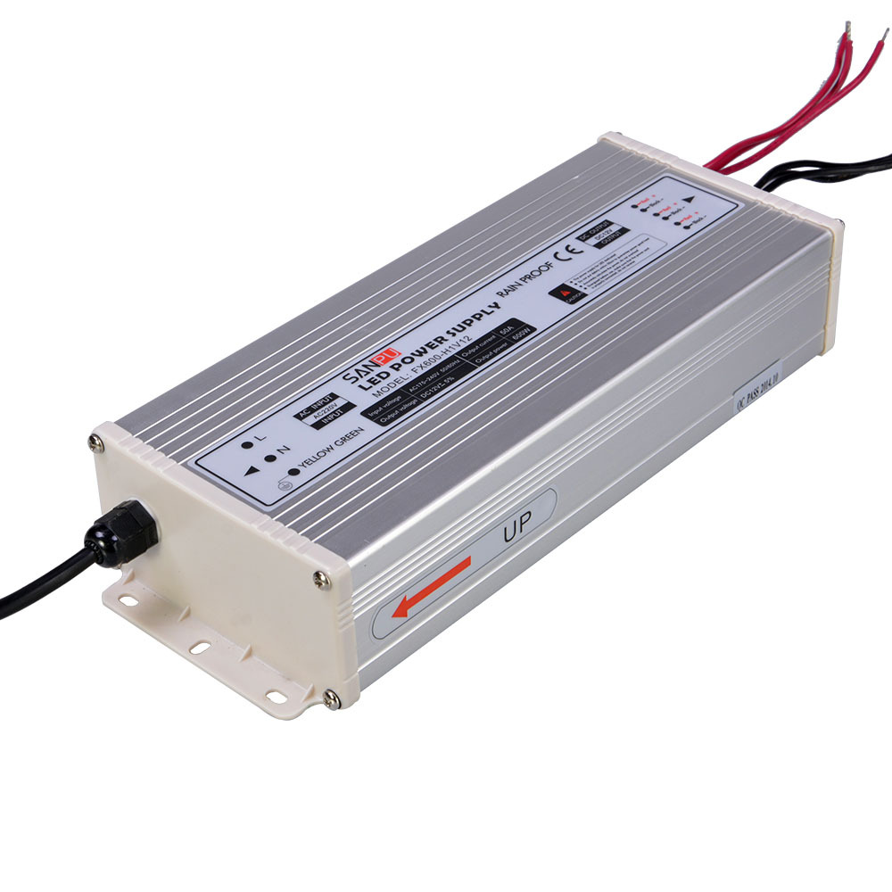 SMPS SANPU IP63 Switching power supply 12v 50a 600w 220V 12v lighting transformer driver for led strip and point light source.
