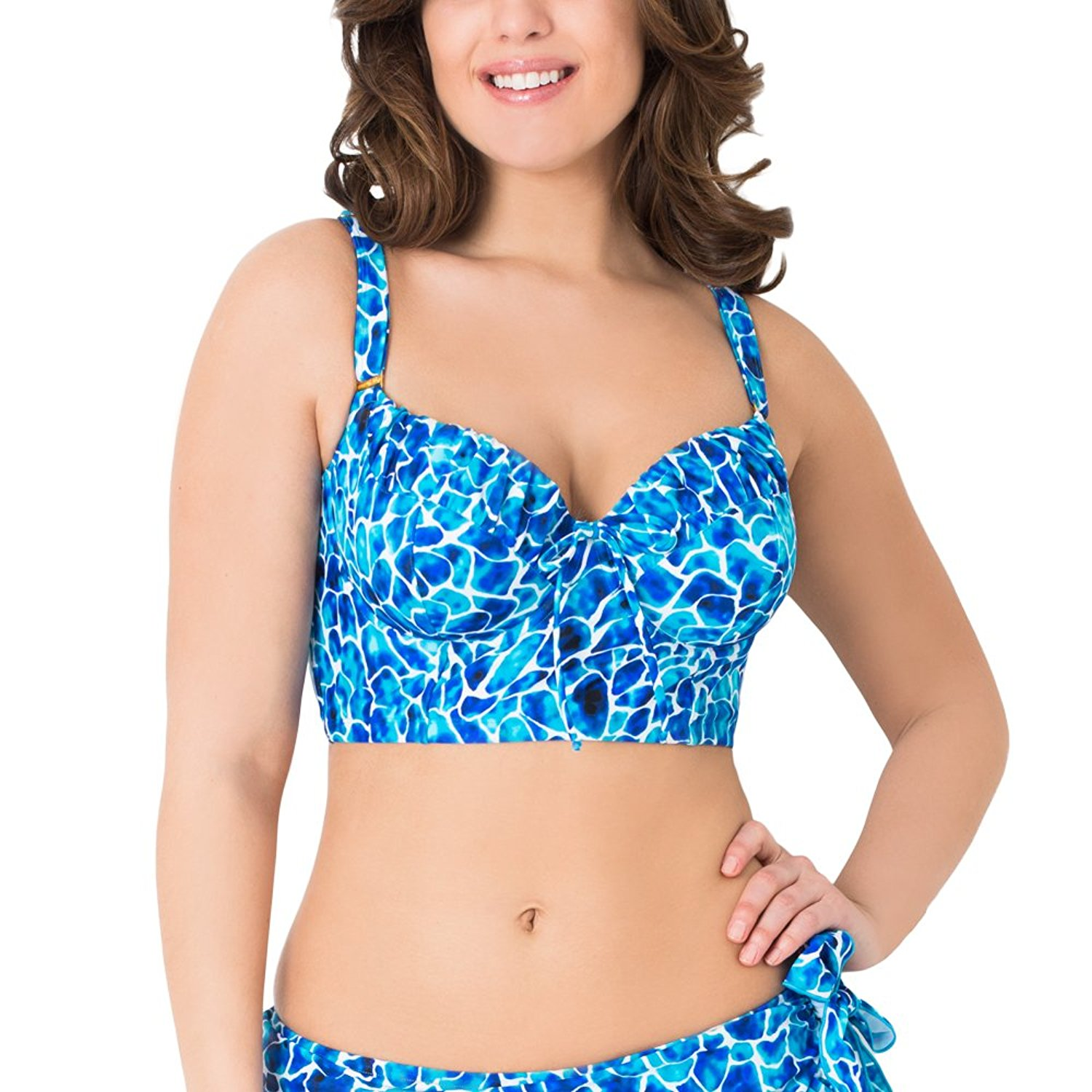 bdb3bbd74e031 Get Quotations · Smart & Sexy Women's Full Busted Long Lined Underwire Swim  Top