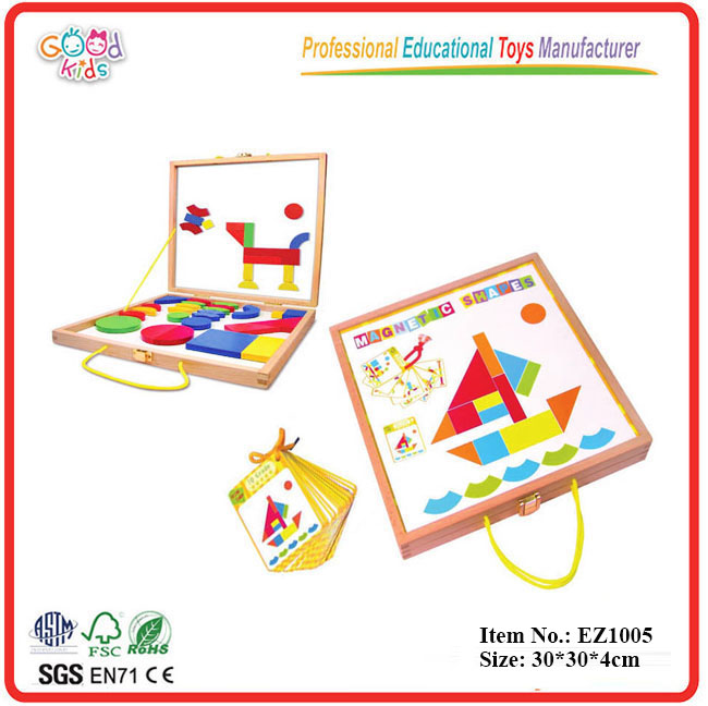 Preschool <strong>Kids</strong> Educational 42pcs Pattern With 25pcs IQ Cards Magnetic Wooden Block