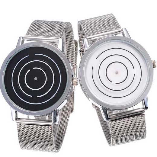 Newest silver stainless steel with dial rotating watch