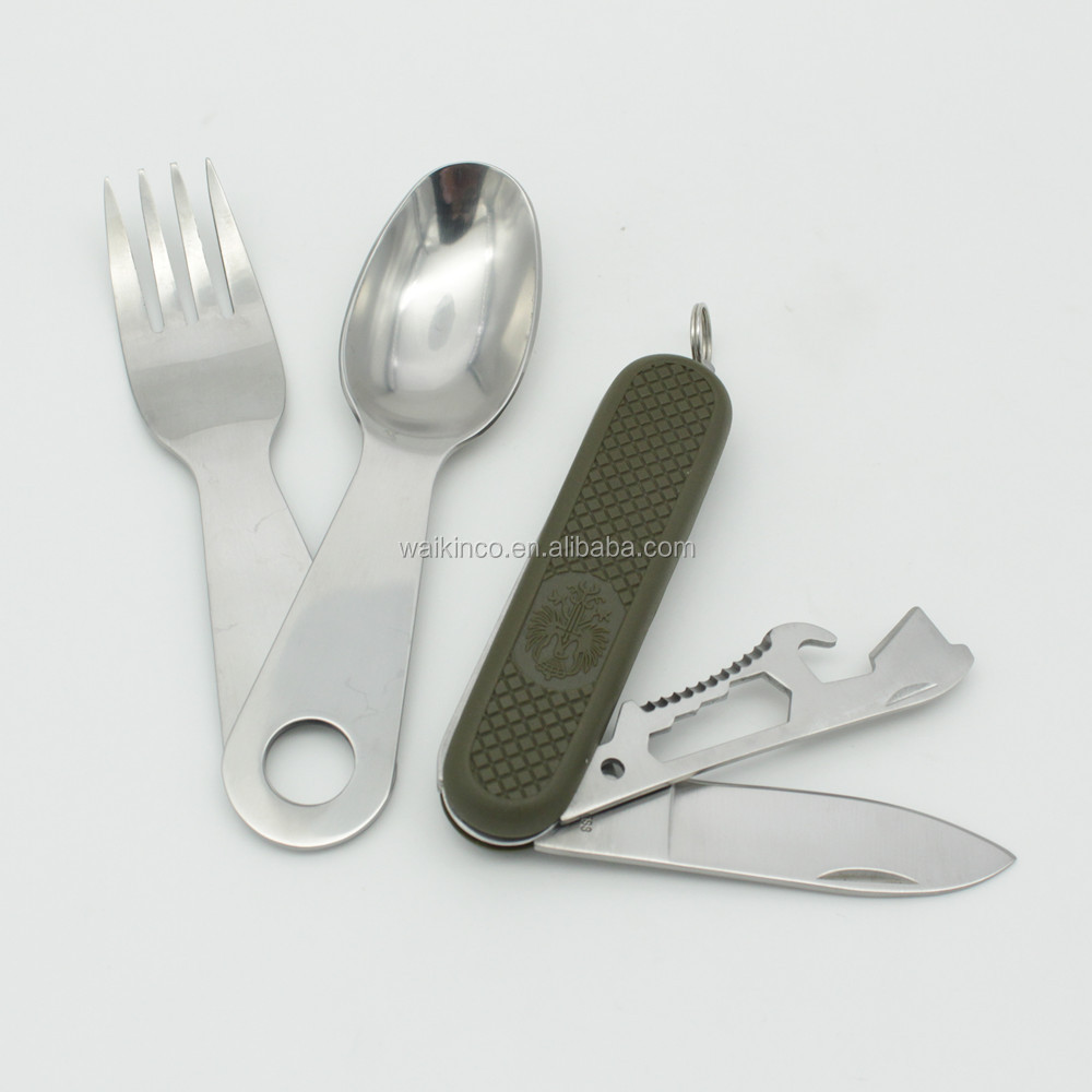 9 in 1 Stainless Steel Multi-function Pocket Camping Dinner Set
