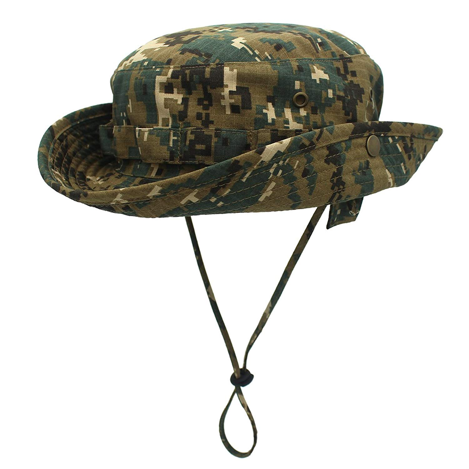 Get Quotations · LLmoway Men Roll up Camo Bucket Hat Sun Protection Outdoor  Hunting Hat with Cord 8738115859e8