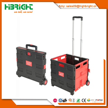 Plastic Folding Boot Cart Shopping Trolley Fold Up Storage Box Wheels Crate  Truck Foldable
