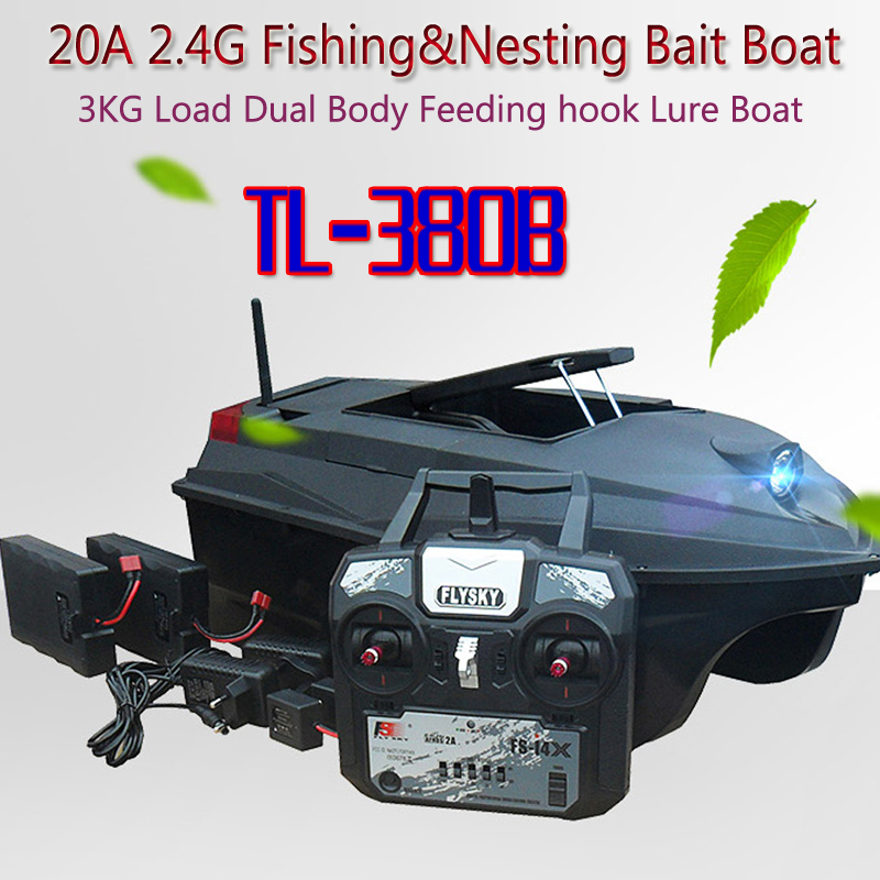 Skywolf TL-380B 20A 2.4G Fishing&Nesting Bait Boat 3KG Load Dual Body Feeding hook Lure Boat(FlySky TX)