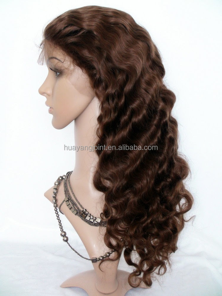 Free Shipping Qingdao Hair Factory Brazilian Remy #4 Brown180% Density Full Lace Wig Human Hair for Black Women