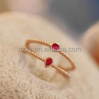 925 Sterling Silver Genuine Ruby Gemstone Ring with Diamond & Ruby Heart Ring