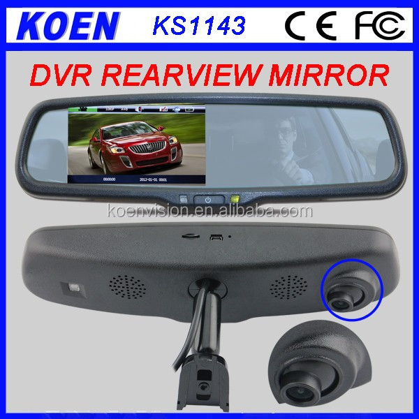 HD Car DVR Rear View Mirror With 4.3 Inch LCD Monitor Dual Camera Reversing&Recorder System