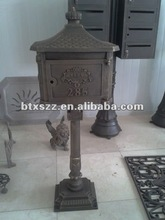 Euro Style cast iron aluminum letter post mailbox, lighted post mailbox