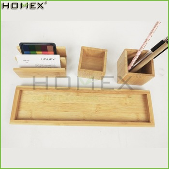 Bamboo Office Desk Organizer 4pc Set On Desktop/Homex_FSC/BSCI Factory