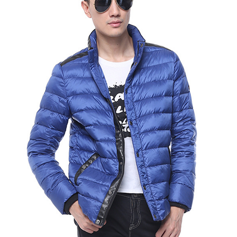 china factory Trim Cheap Blue Light leather Bomber Down Jacket Xxxl Winter for Men, Red;army green;blue;black;or custom