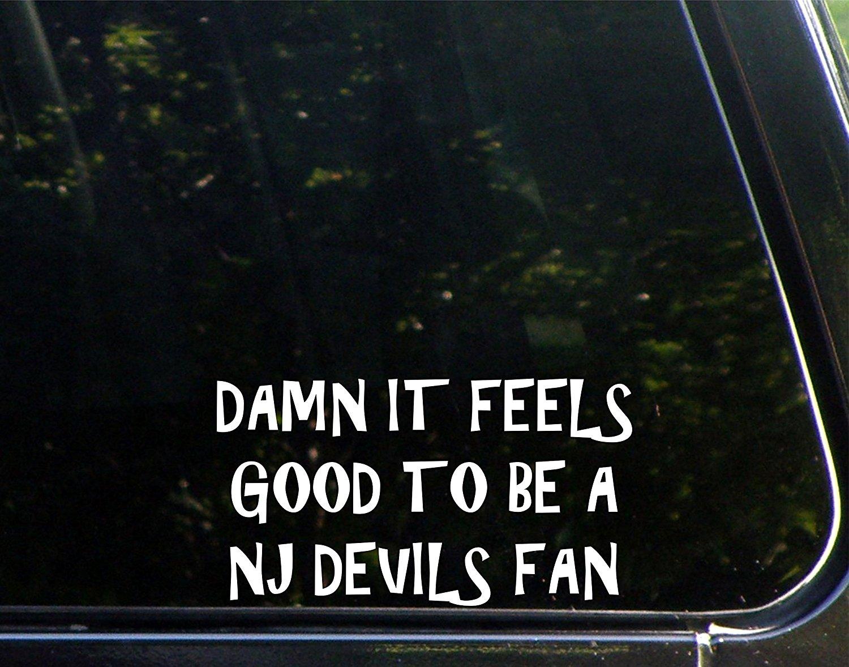 """Damn It Feels Good To Be A NJ Devils Fan - 7""""x 3 3/4"""" - Vinyl Die Cut Decal / Bumper Sticker For Windows, Trucks, Cars, Laptops, Macbooks, Etc."""