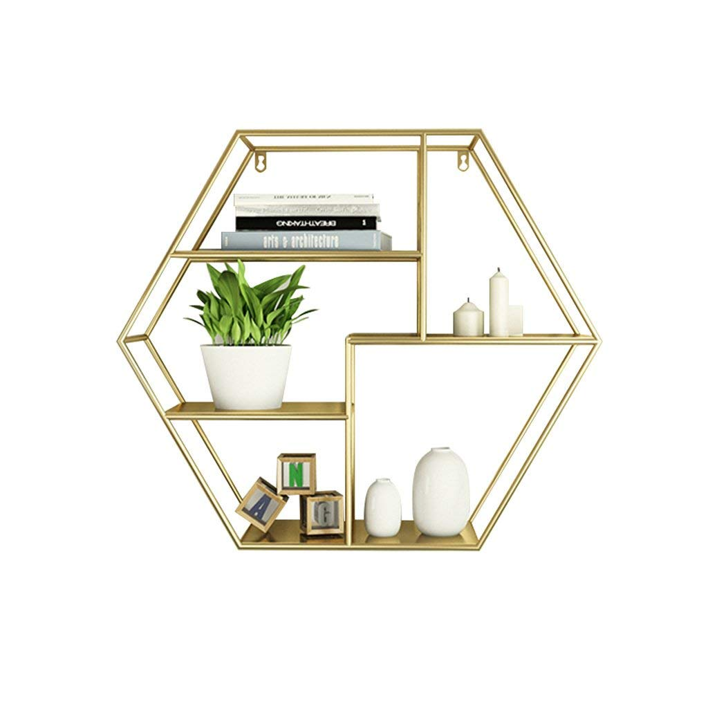 Boyang Wall Iron Multilayer Shelves, Hexagonal Multilayer Shelves, Wall Tea Shop Living Room Dining Room Wall Decoration,White (L70 W20 H60cm)