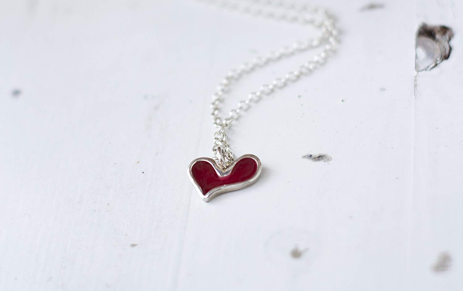 Sterling Silver Heart Pendant Necklace, Red Small Charm