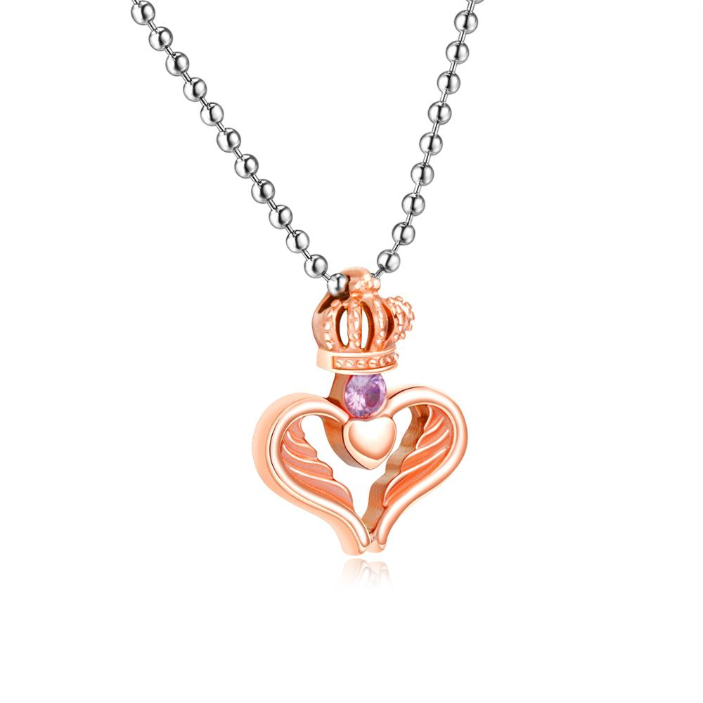 Couple jewelry fancy crown heart pendant necklace фото