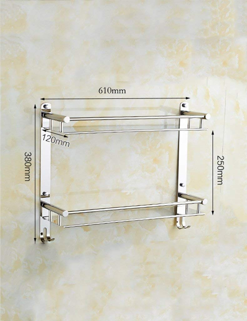 L.I. Bathroom Shower Extremely Strong Dry-Towels in Stainless Steel Fixed to The Wall with Shelves for The Storage Hook Toilet ensuring The Quality (Color 2, Size: 61cm)