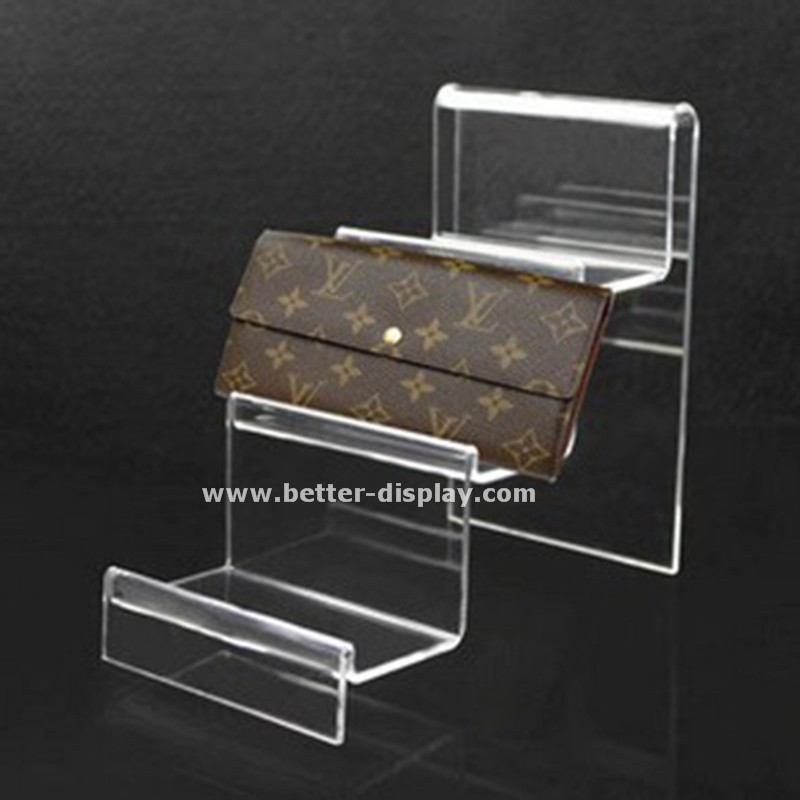 clear acrylic plastic wallet display rack