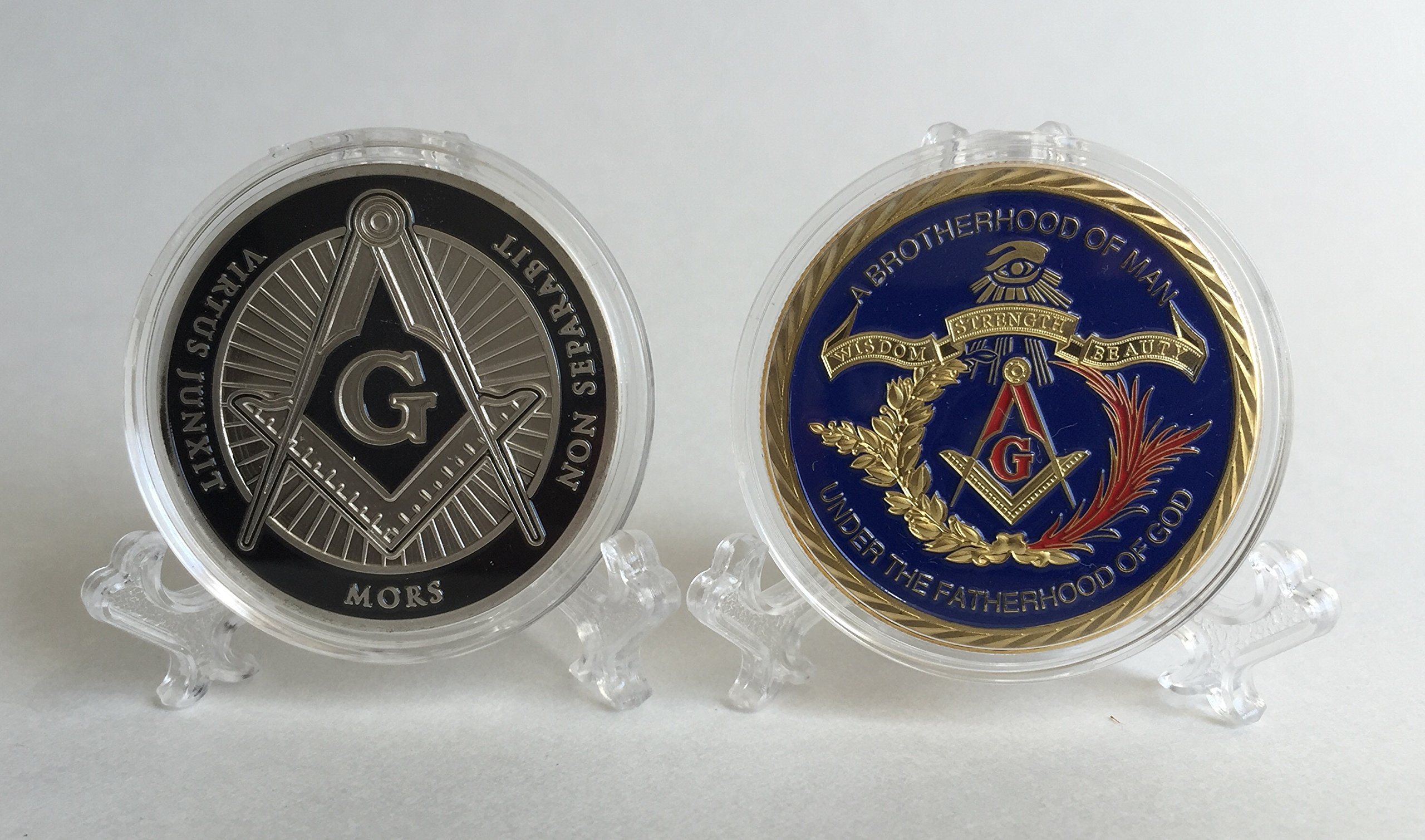 Set of 2 (1 silver, 1 gold color with color) Freemason Collectible Challenge Coins by Lucky Donk, Poker Card Guard, Golf Ball Marker, paperweight