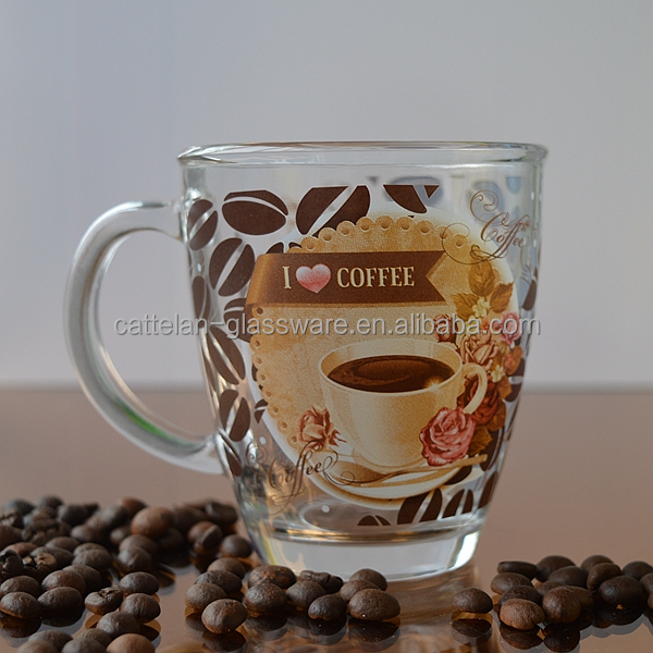 Coffee glass mug with custom printing for gift and promotion