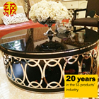 stainless steel italian mirror modern rose gold round metal glass tea coffee table foshan