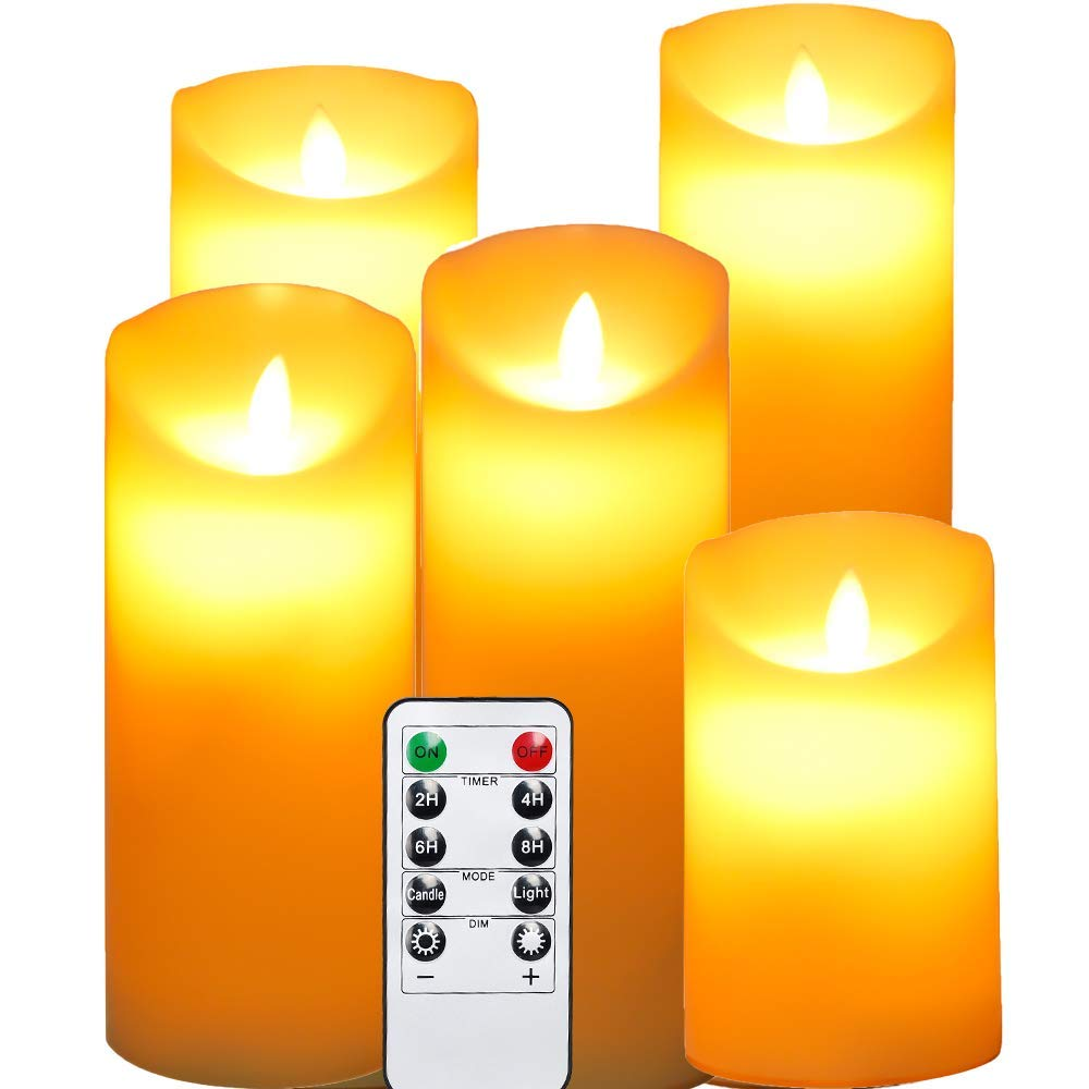 """OxoxO 5pcs Flameless Candles Real Wax Pillar Moving LED Flame Candles with 10-Key Remote Control 24-Hour Timer - 5"""" 6"""" 7"""" 8"""" 9"""" Height"""