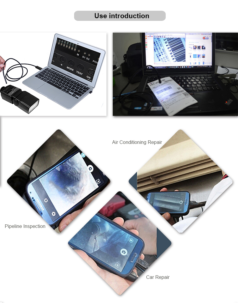 2in1 Endoscope 8mm 1M 2M 3.5M 5M 10M USB Android Camera HD Inspection OTG IP67 USB Endoscope Camera Phone Borescope