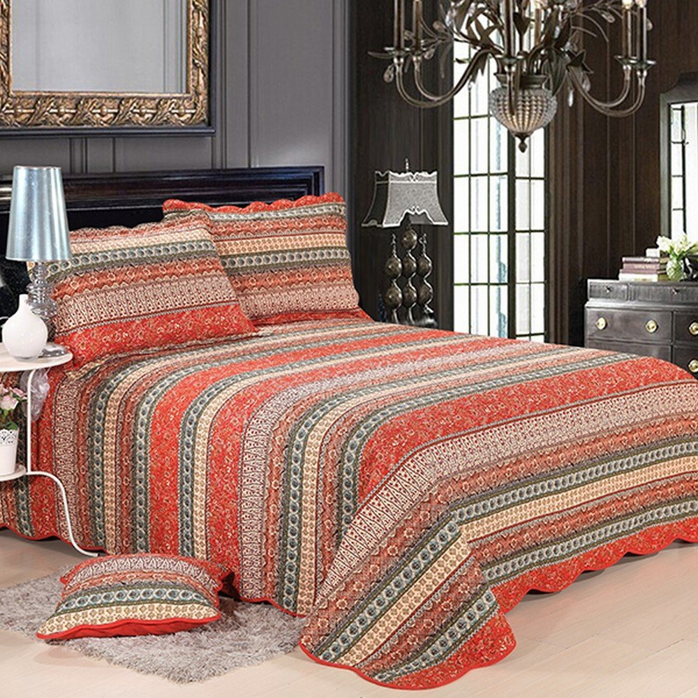 bedding quilt toile teton product timberline rouge king elaine trading red