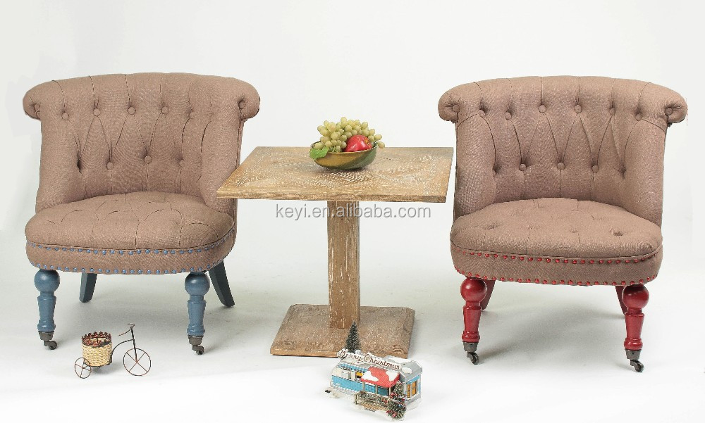 Antique Kids Furniture Set Square 60x60cm Wooden Coffee Table With Sofa Chair Dt 1007 Oak F098n Sets
