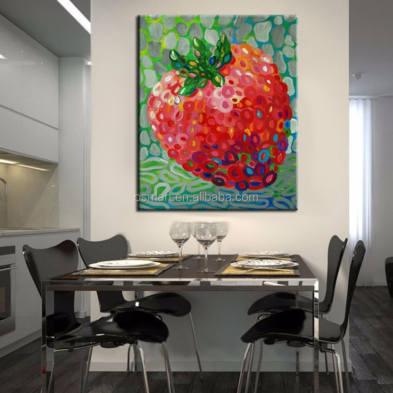 Wholesale Top Quality Little Fruit Strawberry Oil Painting For Kitchen