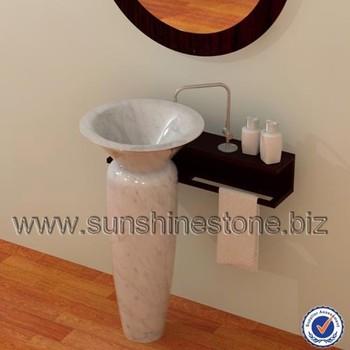 Carrara Marble Types Of Wash Basins , Bathroom Corner Pedestal Sink ,Hand  Wash Basin With